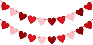 Felt Heart Garland Banner - Valentines Day Decorations - Valentines Day Banner Decor - NO DIY -Wedding, Anniversary, Birthday, Home Party Decorations Ornaments - Red, Pink and Rose Red Color