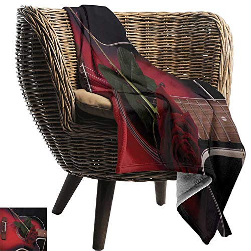 AndyTours Cool Blanket,Red and Black,Spanish Musician Portugal Hand Made Guitar with Romance Theme Love Rose,Ruby and White,for Bed & Couch Sofa Easy Care 30