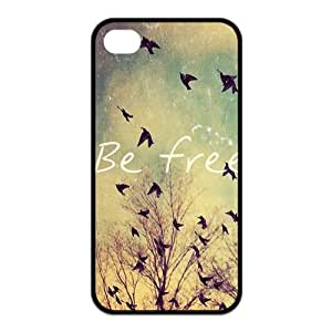 Be Free Birds Quote Protective Rubber Back Fits Cover Case for iPhone 4 4s