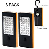 [2 Naissance] (3 PACKS) 32 LED Magnetic Handheld Light Work Light with a Hook, Used as Emergency FlashLight and Bicyle Light(No battery included)( 28+4 LED) (orange)