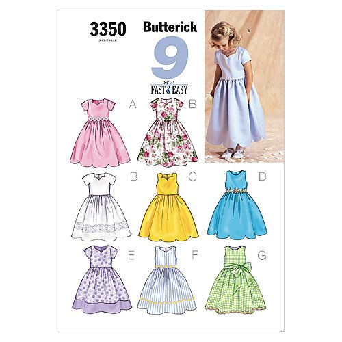 BUTTERICK PATTERNS B3350 Children's/Girls' Dress, Size 6-7-8 B3350060