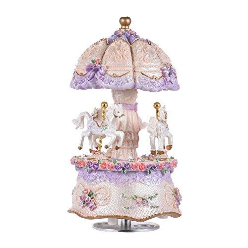 Ammoon 3-horse Rotating Carrusel tiovivo Windup Music Box castillo en el cielo, Púrpura