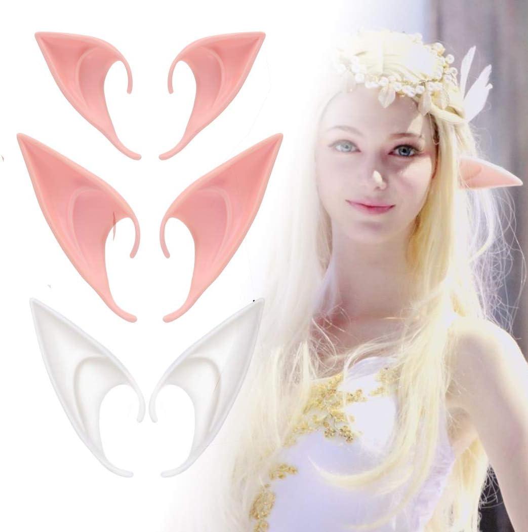 4 Pairs Ladies Fairy Elf Pixie Hobbit Pointed Ears Tips Fancy Costume Cosplay
