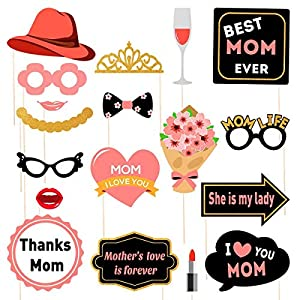 Amosfun Mother's Day Photo Booth Props I Love You Best Mom Ever 2020 Thanksgiving Party Favors for Mother's Birthday…