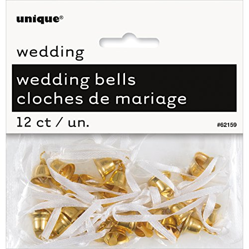 Mini Plastic Gold Wedding Bells Favor Charms, 12ct