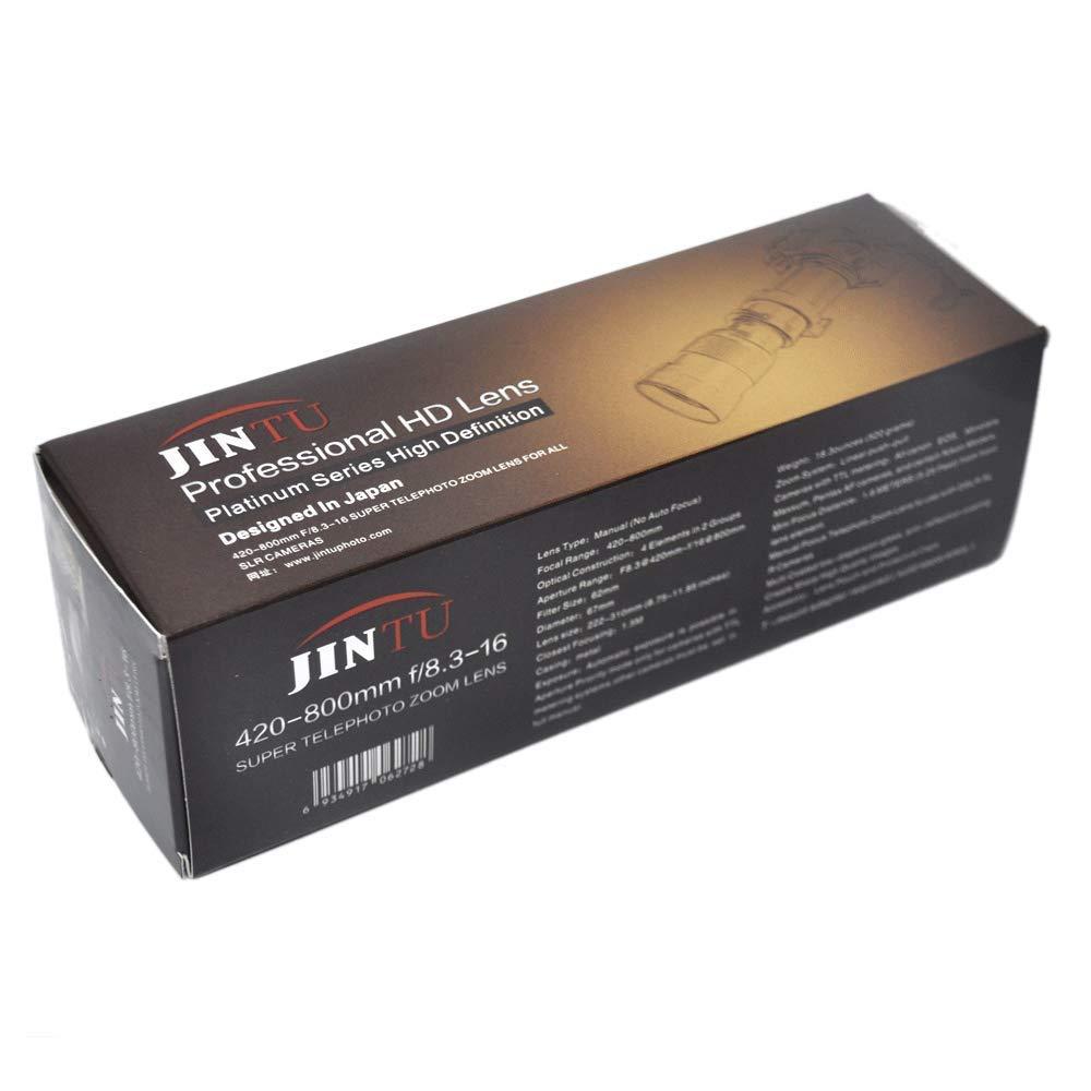 JINTU 420-800mm f/8.3 HD Telephoto Zoom Lens for Nikon SLR Digital Cameras D5600 D5500 D5300 D5200 D5100 D3500 D3400 D3300 D3100 D3200 D7500 D7200 D7000 D7100 DF D750 D90 D850 + Bag + Aluminum Alloy