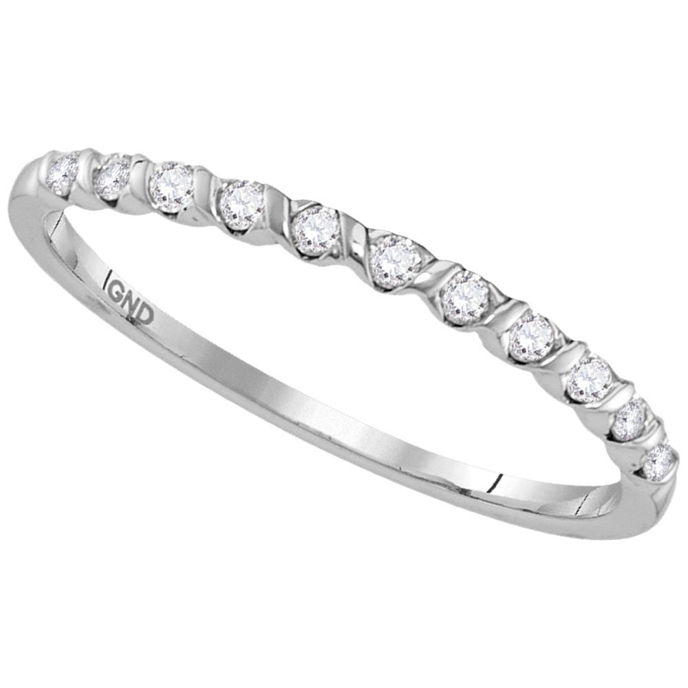 10kt White Gold Womens Round Diamond Single Row Stackable Band Ring 1/6 Cttw