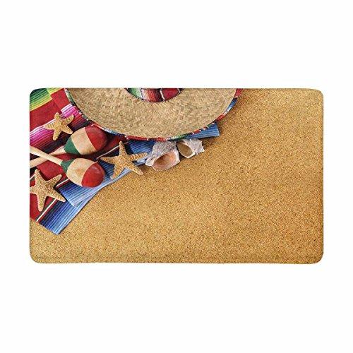Cheap  InterestPrint Mexican Boho Hat Mexico Beach Sombrero Fiesta Doormat Anti-Slip Entrance Mat..