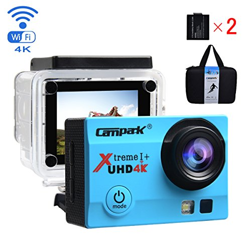 Campark ACT74 Action Camera 4K WiFi Waterproof Sports Camera 170° Ultra Wide-Angle Len with SONY Sensor,2 Pcs Rechargeable Batteries and Portable Package(Blue) … Action Cameras CAMPARK