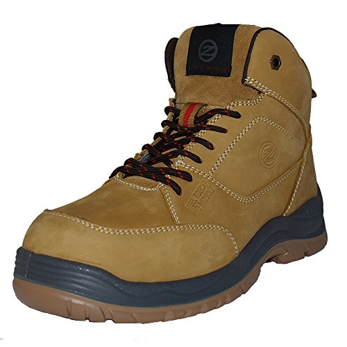 Hiker Style Safety Boot - Zephyr ZX73 S1P SRC Nubuck Wide Fit Steel Toe Cap Hiker Style Safety Boots (US 11)
