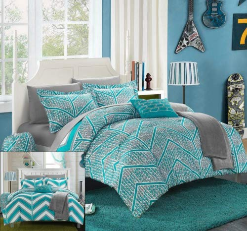 Chic Home 10 Piece Laredo Chevron and Geometric Printed Reversible Comforter Sheet Set, Full, Aqua from Chic Home