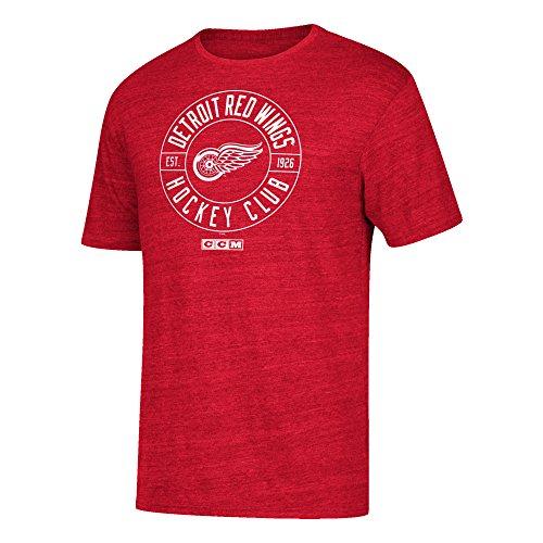 adidas NHL Detroit Red Wings Wheelhouse Tri-Blend Short Sleeve Tee, XX-Large, Red Heathered - Hockey Shirt Detroit Red Wings