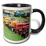 "3dRose mug_95058_4 ""Vermont, Manchester Antique Farm Tractor US46 WBI0005 Walter Bibikow Two Tone black"" Mug, 11 oz, Black/White"