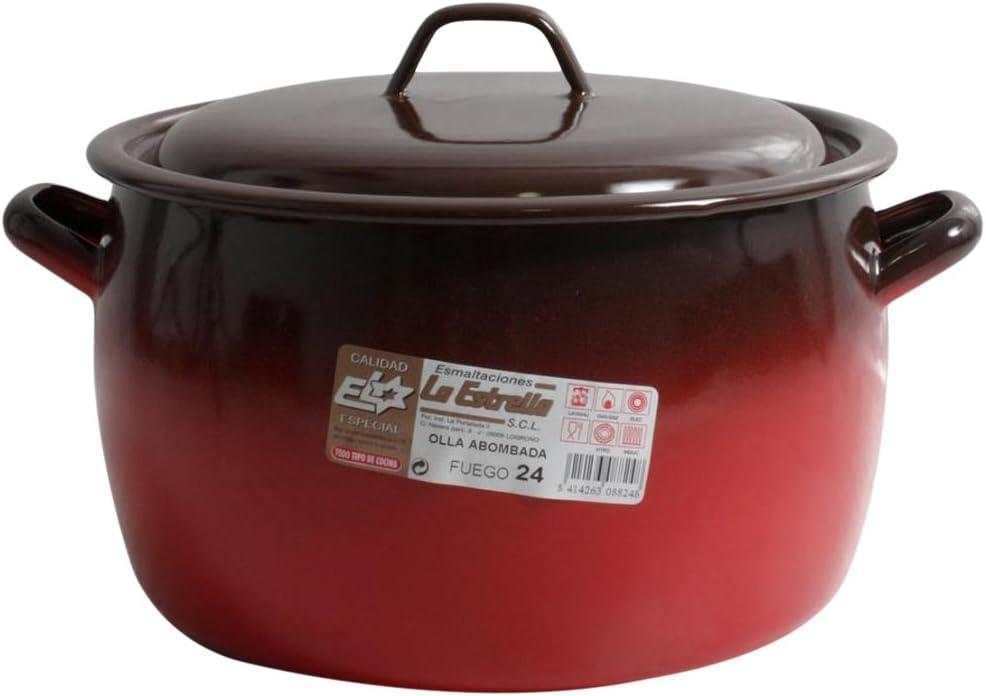 esmaltaciones The Star Fire–Convex Cooking Pot with Lid, 24cm, 7L