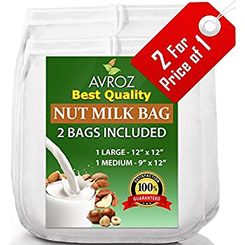 """My Best Nut Milk Bag - 2 Pack Large (12""""x12"""") & Medium (12""""x9"""") Strong Reusable Almond Milk Bags - Commercial Food Grade Fine Nylon Mesh - Food Strainer & Cheese Maker Coffee & Tea Filter"""