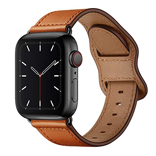 KYISGOS Compatible with iWatch Band 40mm 38mm 44mm 42mm, Genuine Leather Replacement Band Strap Compatible with Apple Watch SE Series 6 5 4 3 2 1 (Retro Brown/Bronze Gold, 40mm/38mm)