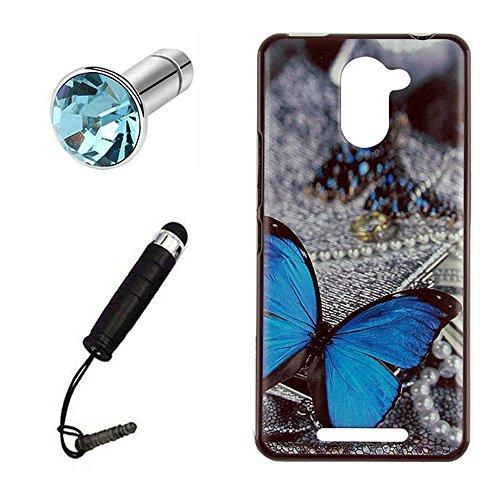 Lusee® Funda de silicona para BQ Aquaris U Plus Suave Cascara TPU mariposa azul