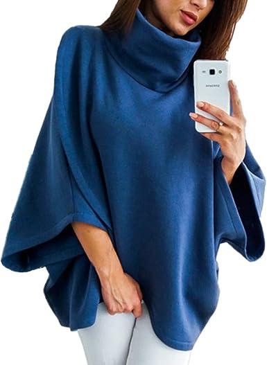 Morbuy Mujer Sudaderas, Jersey de Cuello Alto Otoño Manga Larga Blusa Tops Sencillo Cool Casual Linda Loose Sudadera Camisa De Slim Fitting ...