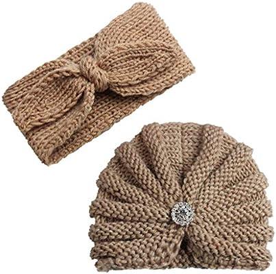 Amazon.com  2Pcs Baby Boy Girl Beanie Cap Bowknot Headband 4abb5d1dbbb6