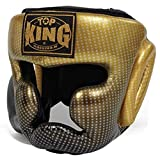 Top King Headgear Head Guard for Protection in Muay Thai, Boxing, Kickboxing, MMA (Superstar Gold,X-Large)