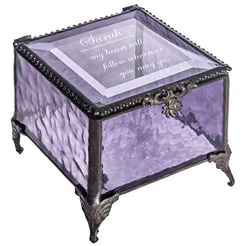 Personalized Purple Glass Box Decorative Vanity Display Case Storage Jewelry Organizer Keepsake Gift for Friend Daughter Sister Girl Women Vintage Decor J Devlin Box 836 EB246