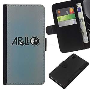 A-type (Apolo Luna Misión astronauta azul) Colorida Impresión Funda Cuero Monedero Caja Bolsa Cubierta Caja Piel Card Slots Para Sony Xperia Z1 L39
