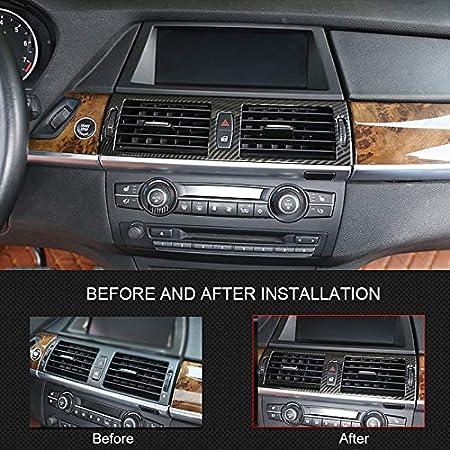 pour X5 E70 2007-2013 Coque de Ventilation pour Console Centrale en ABS Aspect Fibre de Carbone X6 E71 2008-2014 YUZHONGTIAN