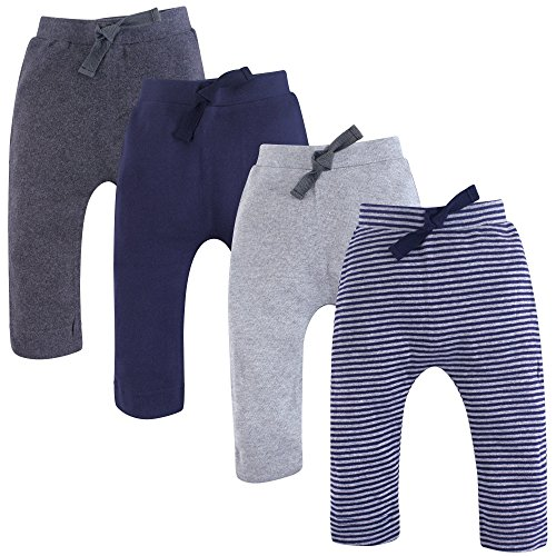 Touched by Nature Organic Harem Pants, 4 Pack, Navy and Gray, 3-6 Months