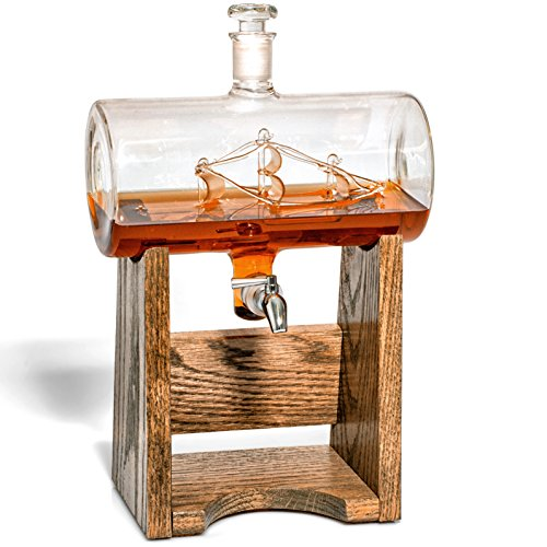 Bourbon Whiskey Decanter – 1150ml Liquor Dispenser for Rum, Vodka, Wine, Whiskey, Etc- Sailing/Boating Gifts for Men and Women, Nautical Decor Newlywed Gift, Unique Bourbon Gifts (Prestige Decanters)