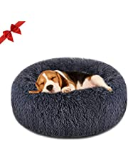 Focuspet Dog Bed Cat Bed Donut, Pet Bed Faux Fur Cuddler Round Comfortable Size Medium 23''& Large 30'' Ultra Soft Calming Bed for Dogs and Cats, Self Warming Indoor Snooze Sleeping Cushion Bed