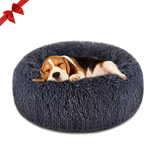 FOCUSPET Dog Bed Cat Bed Donut, Pet Bed Faux Fur Cuddler Round Comfortable for Small Medium Large Dogs Ultra Soft…