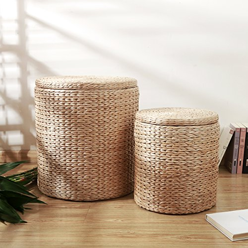Eshow Woven Ottoman Footstools with Storage Seat Footrest Organizer for Living Room Bedroom Round Handmade