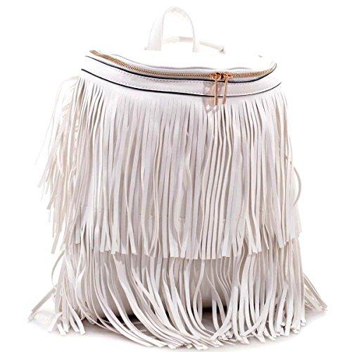 MKY Women Fringe Backpack Casual Shoulder Bag Convertible Purse Tassel Bucket Bag White Review