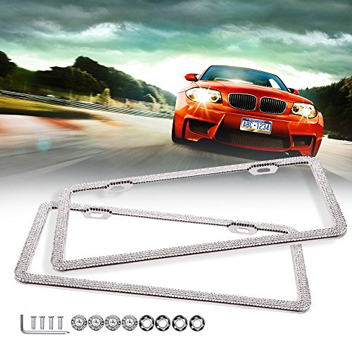 ECCPP License Plate Frame Universal License Plate Covers Protect Plates with Screws for US Vehicles (2Pcs 2 Holes BlingBling)