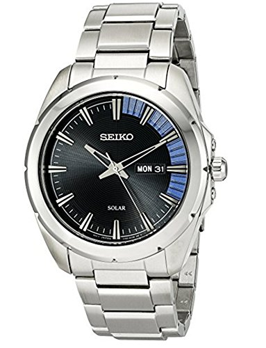 Seiko Recraft Black Dial Stainless Steel Mens Watch SNE415XG (Renewed)