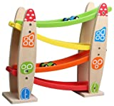 Lelin Wooden Childrens Kids Star Sloping Slope Rolling Vehicle Runner Toy