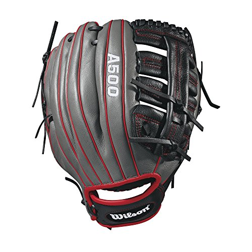- Wilson 2018 A500 Baseball Gloves - Right Hand Throw Black/Red, 12.5