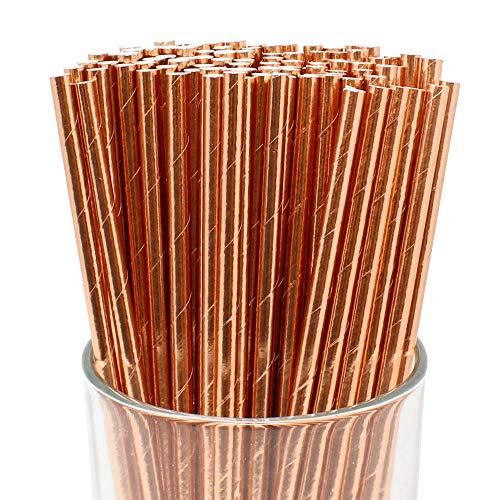 Just Artifacts 100pcs Premium Biodegradable Solid Paper Straws (Solid, Metallic Rose Gold) -