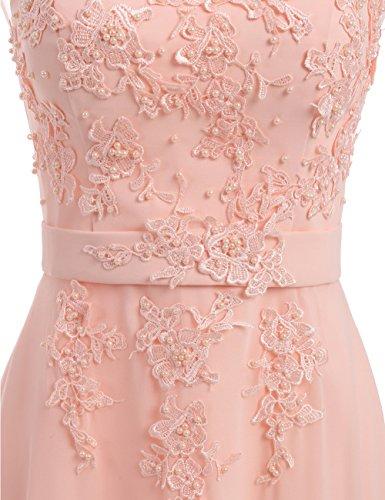 für Abendkleider Damen 2018 Hochzeit Brautjungfernkleid Chiffon Elegant Lang Spitze LuckyShe Rosa w1YRqn4x61