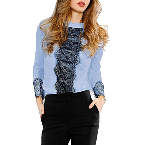 Vlent Toplook Women' s White Lace Zipper Blouse