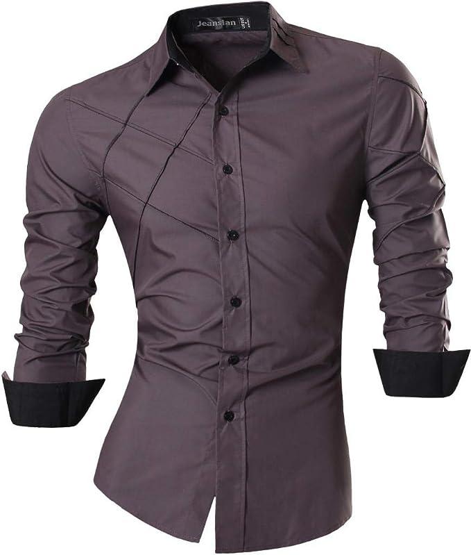 Jeansian Hombre Camisas Moda Manga Larga Men Fashion Slim Fit Casual Long Sleeves Shirts 2028