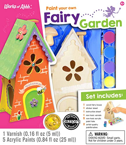 MasterPieces Works of Ahhh Real Wood Large Acrylic Paint & Craft Kit, Fairy Garden, Mom's Choice Award & Dr. Toy's 100 Best Winner, for Ages 4+