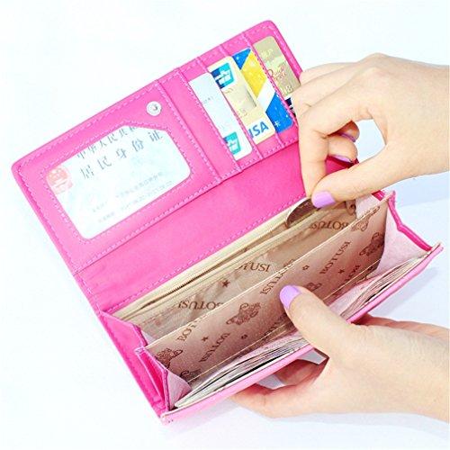 de Carte Long la monnaie PurseFemale Pink relief Titulaire Embrayage Porte Portefeuille Hasp Haoling Portefeuille Mode PurseLadies Ling en Portefeuille Grid qSw1fR