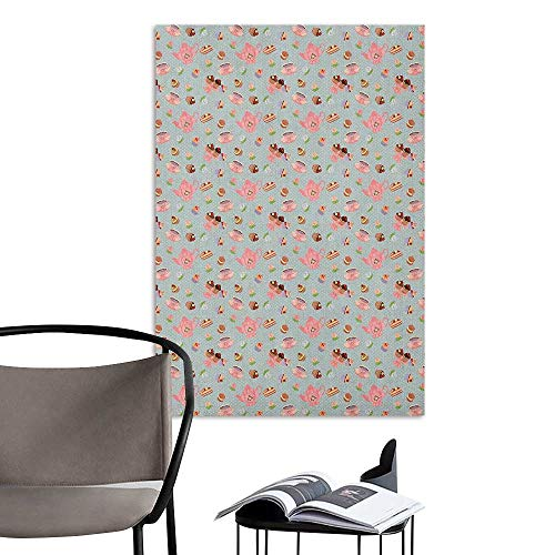 Jaydevn 3D Murals Stickers Wall Decals Tea Party Cupcakes Cookies and Flowers on Polka Dotted Background Great Britain Tradition Multicolor Art Mural Decals W24 x -