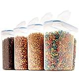 Seseno Juego de 4 recipientes Grandes de plástico sin BPA para Cereales, harina, azúcar, café, arroz, Frutos Secos, Aperitivos, Comida para Mascotas y más (4L, 16,9 Taza, 135,5 onzas)