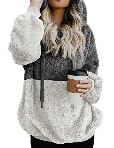 Ezcosplay Women Drawstring Colorblock Sherpa Pullover Sweatshirt Fuzzy  Loose Hoodie 7c3b5c4e3