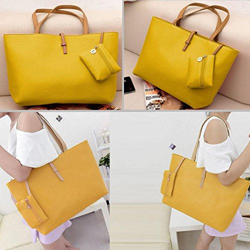 Women Lady Candy Colors PU Leather Tote Shoulder Bags Hobo Handbags Satchel Messenger Bag Purse Yellow