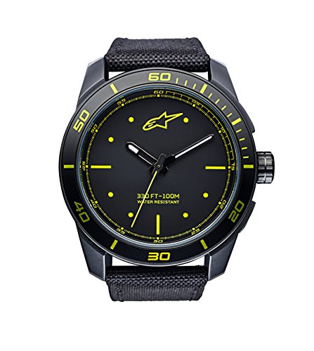Alpinestars Tech Watch | Black-Yellow | 45 MM Men's Analog Japanese Movement | Stainless Steel case Black Matt PVD | 100 Meters Water Resistant ()