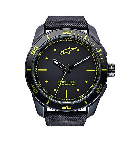 Alpinestars Tech Watch | Black-Yellow | 45 MM Men's Analog Japanese Movement | Stainless Steel case Black Matt PVD | 100 Meters Water Resistant