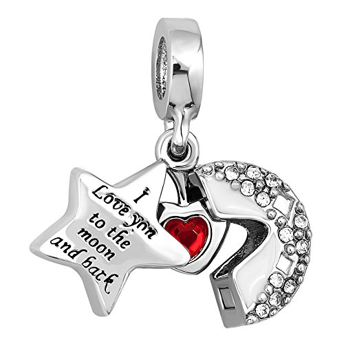 CharmSStory Heart I Love You To The Moon and Back Charm Jewelry Photo Beads For Bracelets (White)